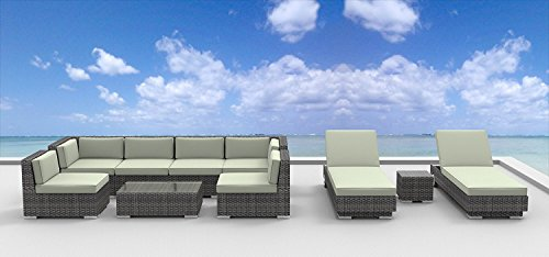 Hot Sale Urban Furnishing - IBIZA 10pc Modern Outdoor Backyard Wicker Rattan Patio Furniture Sofa Sectional Couch Set - Beige