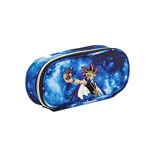Yu-Gi-Oh Equipaje Bolso Colorido Funda Doble Cremallera Maquillaje cosmético Estuche Lápiz Papelería Bolsa de Almacenamiento para Mujeres y Hombres (Color : Sky-blue03, Size : 21 X 5.5 X 10cm)