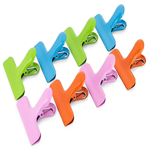 12 Pieces Stainless Steel Chip Bag Clips Heavy Duty Sealing Clips Air Tight Seal Grip Bag Clips with Round Smooth Edge for Office Kitchen Home Storage Use 4 Colors