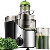 centrifuga frutta e verdura, 2021 estrattore di succo a freddo con 65mm bocca, centrifuga di acciaio inox con 3 velocità, acciaio inossidabile a usi alimentari senza bpa, ricette di elettronica