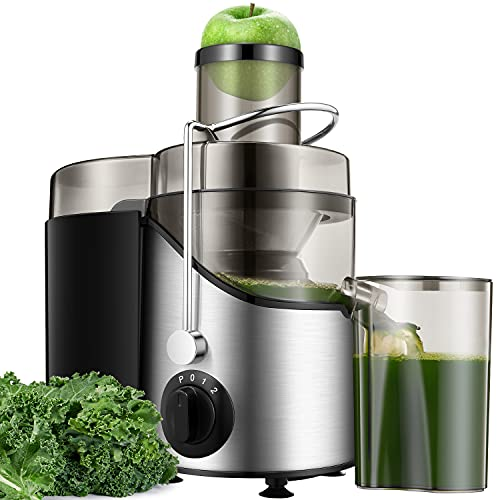 Licuadora de Frutas y Verduras, 400 W Extractor de Zumo en Frío de 65 mm, Licuadora de Acero Inoxidable con 3 Velocidades, Cepillo de Limpieza