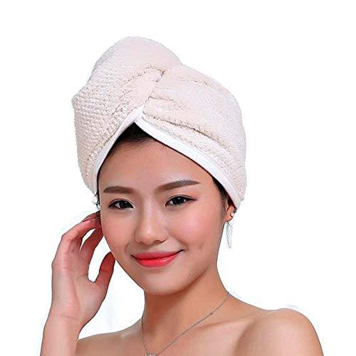 Fyore Ultra Absorbente para el Cabello Turbante Toalla de Secado rápido Anti Frizzy Microfibra Diseño de Lujo para Mujeres (Beige)