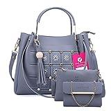 Fiesto Fashion Women's Handbag (Set of 3) (FIESTO33 Blue)