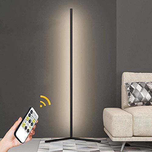 GDFGTH LED Stehlampe Dimmbar Ecklampe Höhe 140Cm Minimalistische Moderne Stehlampe Mit Fernbedienung Für Wohnzimmer Schlafzimmer Büro Arbeitszimmer 20W,Schwarz