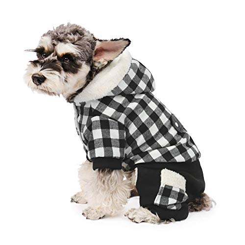 PAWZ Road Dog Plaid Coat Pet Winter Clothes Warm and Soft for Small and Medium Dogs Gray S