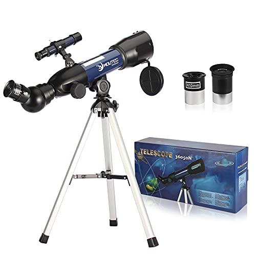 Moutec Teleskop für Erwachsene Einsteiger, Professionelles Astronomisches Refraktorteleskop, Tragbares Reiseteleskop mit Tischstativ, Sucher, 2X Barlowlinse, tolles Geschenk für Kinder