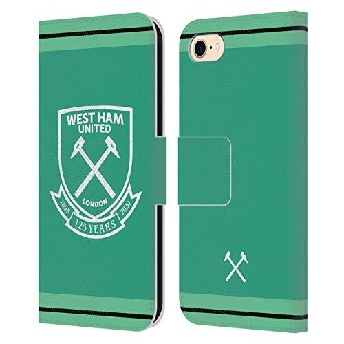 Head Case Designs Oficial West Ham United FC Portero Inicio 2020/21 Kit de Cresta Carcasa de Cuero Tipo Libro Compatible con Apple iPhone 7 / iPhone 8 / iPhone SE 2020