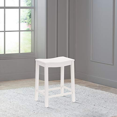 Hillsdale Furniture Fiddler Backless Counter Height Saddle Stool, White