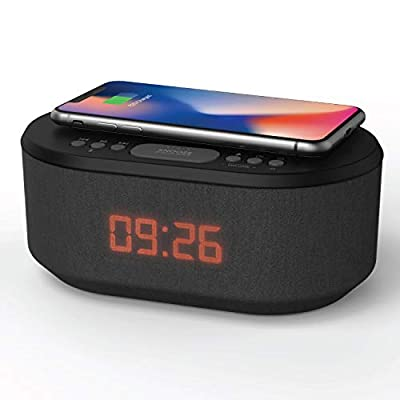 Bedside Wireless Charging Alarm Clock Radio with Dimmable LED Display - Non Ticking Mains Powered Duel Alarm Clock with USB Charger and Bluetooth Speaker by Philex Electronic Ltd