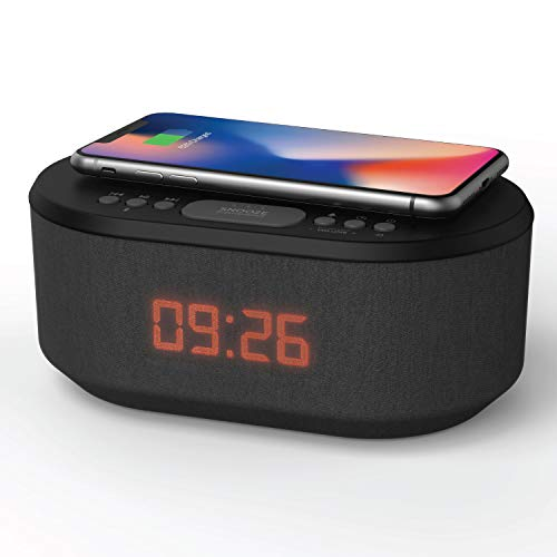Bedside Wireless Charging Alarm Clock Radio with Dimmable LED Display - Non...