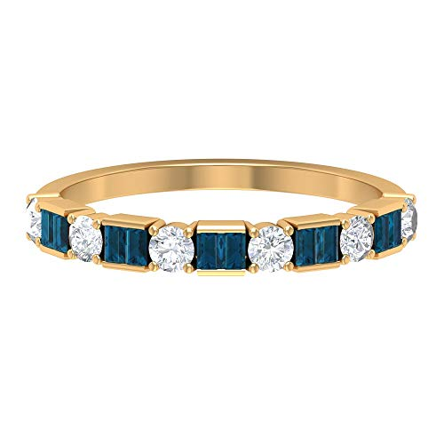 Anillo de diamante HI-SI de 3/4 quilates y topacio azul Londres, media banda de eternidad, anillo de boda de oro (calidad AAA), 14K Oro amarillo, Size:EU 70
