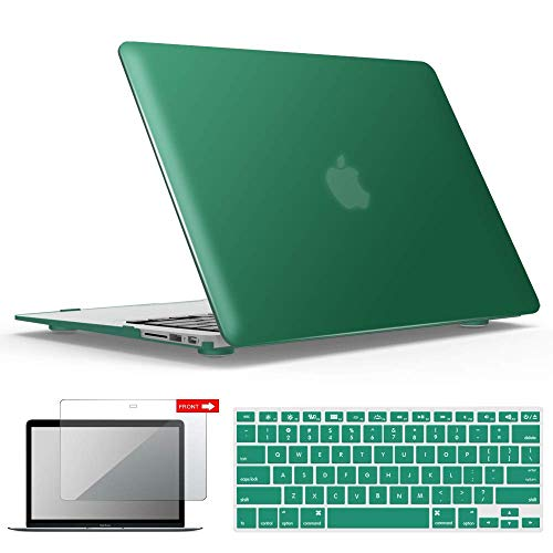 iBenzer MacBook Air 13 Inch Case, Soft Touch Hard Case Shell Cover with Keyboard Cover Screen Protector for Apple MacBook Air 13 A1369 A1466 NO Touch ID, Peacock Green, MMA13LMGN+2