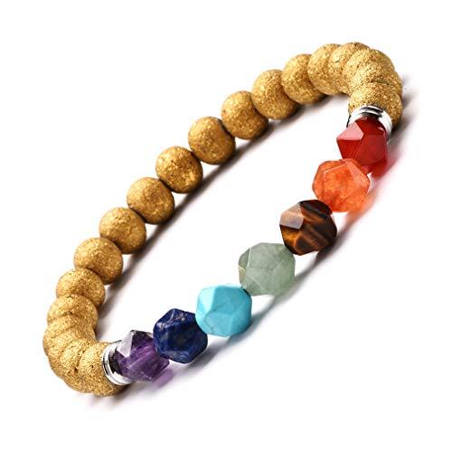 YAZILIND Multicolor sanación Gemstone Perlas Pulsera de Cristal 8mm Ronda Perlas Pulsera de Cristal Natural