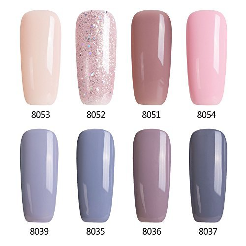 Modelones Gel Nail Polish Set - 8 tiny bottles,Soak Off Gel Polish,Pink Nude Varnish Required UV LED Nail Light Lamp,0.24 OZ