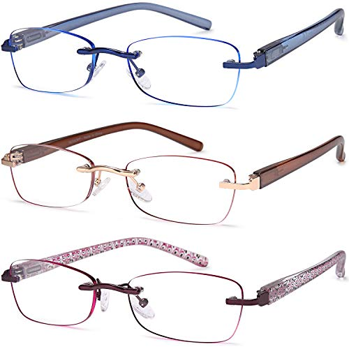 3-Pack Rimless Reading Glasses for Women, 2.5 Lightweight Computer Readers with Comfort Spring Hinge Eyeglasses