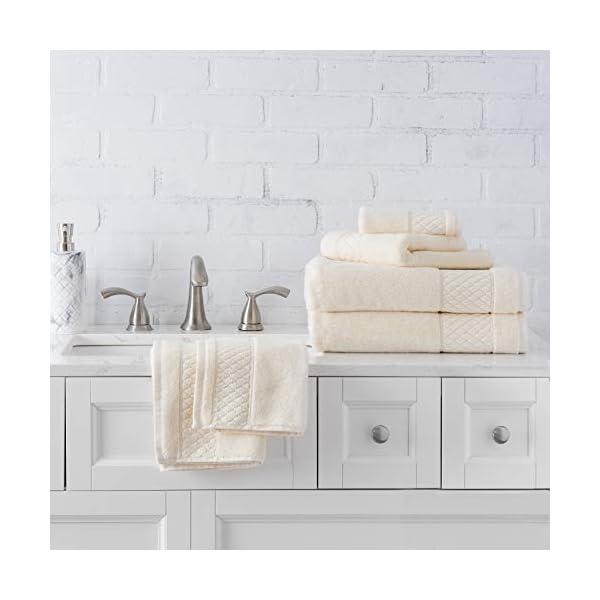 Welhome Hudson 100% Pure Organic Cotton Quality 6 Piece Luxury Bath Towel Set - Durable - High Absorbency - Hotel Spa Bathroom Towel - 651 GSM - 2 Bath - 2 Hand - 2 Wash Towels - Cream