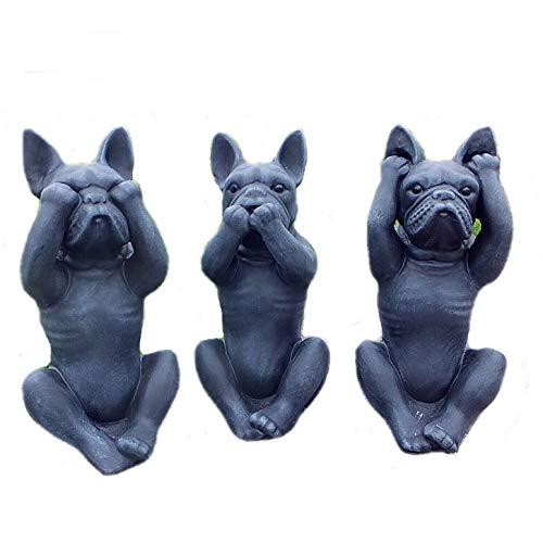Steinfigur Frenchie Französische Bulldogge 3 er Set Nichts hören sehen Sagen Steinguss 0