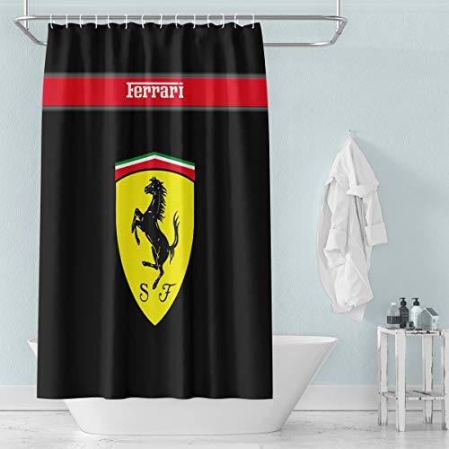 Nyngei - Cortina de ducha (72 x 72 pulgadas), diseño de Ferrari de carbono, color negro