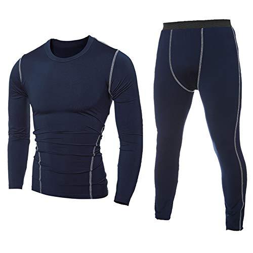 YJNH Thermounterwäsche Set Herren Tops und Hosen Funktionswäsche Atmungsaktiv Unterwäsche Sport Kompressionsanzug für Workout Skifahren Laufen Wandern L