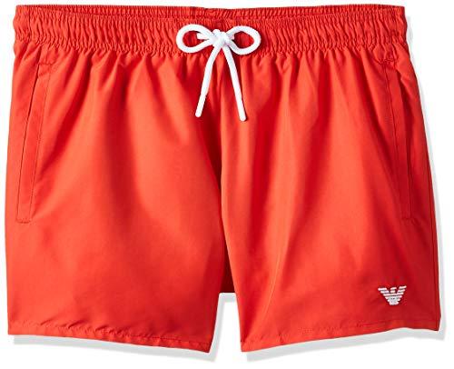 Emporio Armani Swimwear Herren Shorts Beachwear Essential Badehose, Rot (Fiamma 00175), X-Small (Herstellergröße: 46)