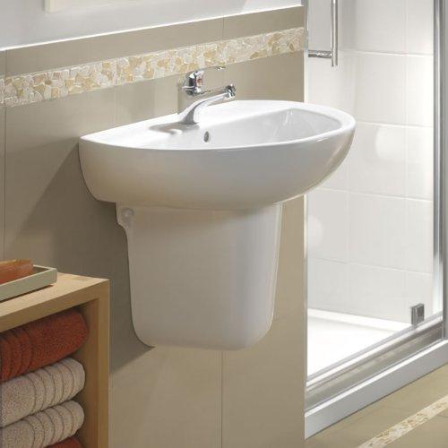 Hudson Reed - Lavabo Semicolonna Sospeso per Bagno Moderno con Troppopieno in Ceramica Bianca (60 x 45cm, Design Classico)