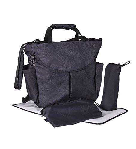 okiedog SUMO 39011 flexible Wickeltasche mit Henkel, Schultergurt, Rucksack, Kinderwagenhaken, Wickelunterlage, isol. Flaschenhalter und Zubehörbeutel, Scribbles schwarz, ca. 47 x 40 x 14 cm