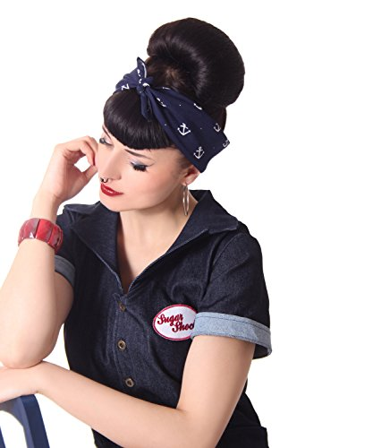 SugarShock Damen Frisuren Tuch Bandana Anker, Größe:OneSize, Farbe:Navyblau