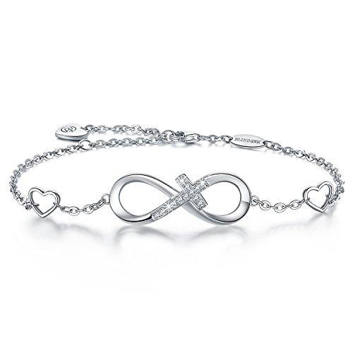 BlingGem Bracelet for Women 925 Sterling Silver White Gold Plated Cubic Zirconia Infinity Cross Charm Bracelet Gift for Women
