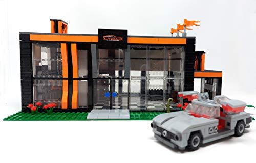 Modbrix Bloques de construcción para coche con 300 SL Auto, sala de exposición y taller, 994 bloques de montaje