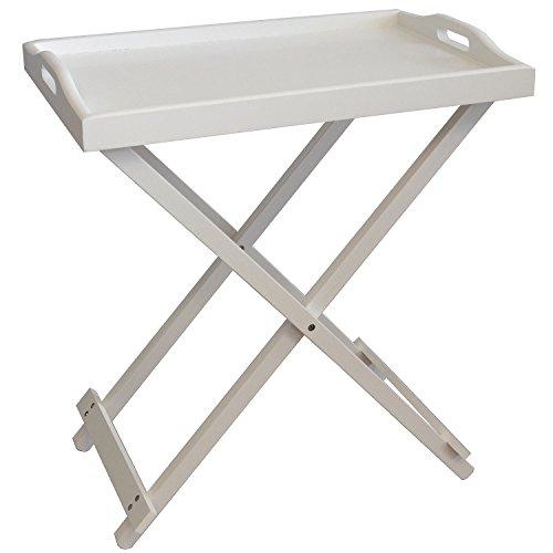 Multistore 2002 Serviertisch Beistelltisch Klapptisch Tabletttisch Tablett Tisch Holz weiß 60x36x55cm