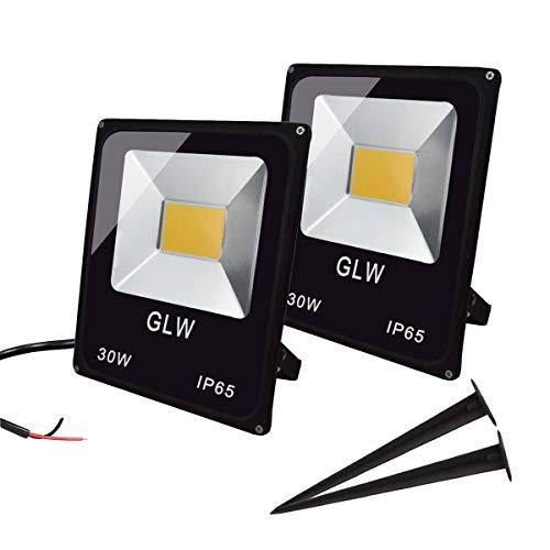 GLW 30W LED Flood Light 12V~24V AC/DC Outdoor Landscape Lighting 3000K 2700LM Warm White Waterproof Work Light with Spike Stand【2 Pack】