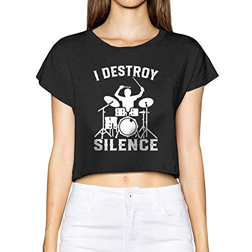 AUDNEDB I Destroy Silence Drummer Drums - Camiseta de manga corta para mujer