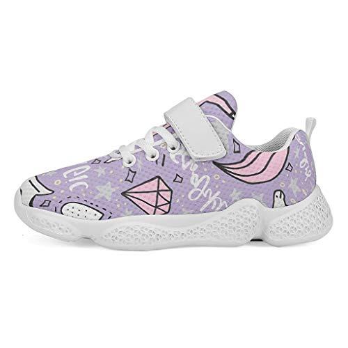 YxueSond Magic Unicorn - Zapatillas de deporte con cordones para gimnasio, atlético, tenis y calzado deportivo para niño, Infantil, blanco, 34