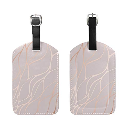 Luggage Tags, Marble Rose Gold Printed 2 Pack PU Case Suitcase ID Tag Labels Travel Bag Baggage