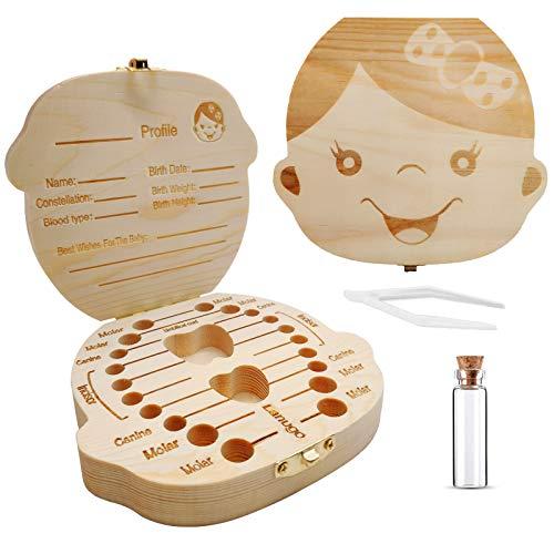 Wooden Teeth Saves Box,Kids Keepsake Organizer for kids Teeth, Children...