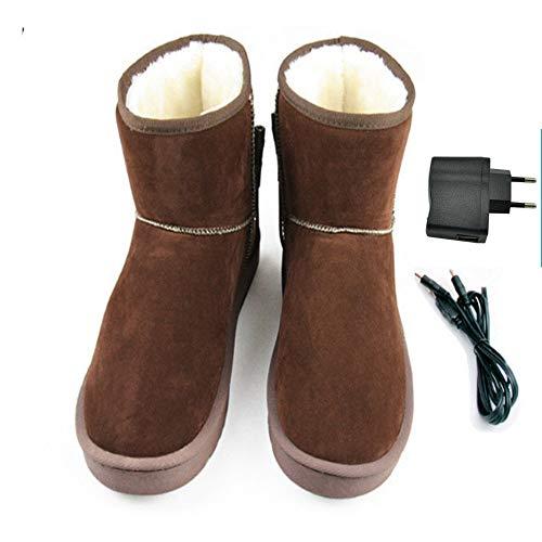 LanXi® USB 5 V 10W wärmende Heizschune mt Karbon Heizelementen, mit weicher Sohle, GrößeS M L XL XXL, wärmende Hausschuhe, Wärmepolster, Fußwärmer, Aufwärmung Kalter Füße (43-44, Brown(Mann))