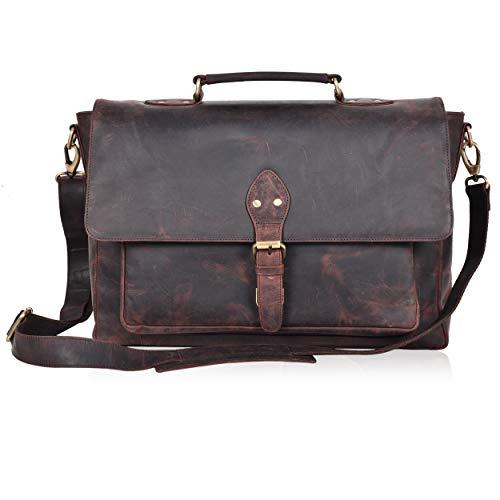 Full Grain Messenger Bag Professionals Briefcase Genuine Leather Laptop Bag 16