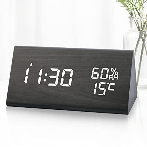 KINGTERENCE Wecker Digitaler Wecker, Tischuhr mit Nacht LED Datum Sprachsteuerung Uhr Holz Digitaluhr Innentemperatur 3 einstellbare Alarmgruppe, für Kinder/Schlafzimmer/Wohnzimmeruhr