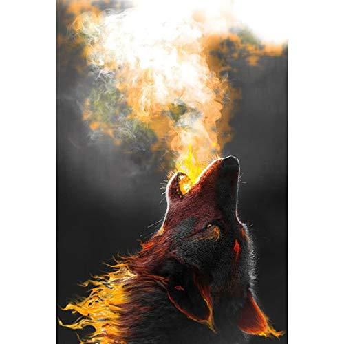 DFKJ 5D DIY Diamantmalerei Fantasie Tier Wolf Löwe Kreuzstich Volldiamant Stickerei Mosaik Bild von Strass A6 30x40cm