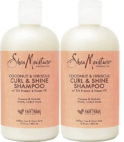 Shea Moisture Coconut & Hibiscus Curl & Shine Shampoo Pack Of 2, 13 Oz