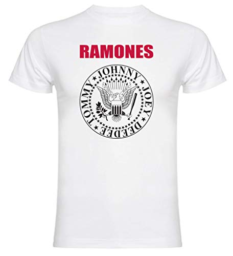 Camiseta de Manga Corta Ramones para Hombre (L, Blanco)