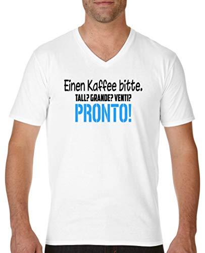 Comedy Shirts - Einen Kaffee Bitte. Tall? Grande? Venti? Pronto! - Herren V-Neck T-Shirt - Weiss/Schwarz-Blau Gr. M