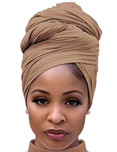 Womens Headbands Headwraps for Bad Hair Day Braid with Wig Ponytails Headwear Tie Camel