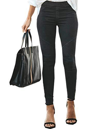 Onsoyours Hosen Damen Elegant Hohe Taille Stretch Leggings Slim Bleistifthose Freizeit Hose Skinny Pants Einfarbig Bequeme Elastischer Taille Hosen (L, Schwarz)