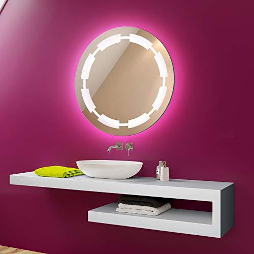 FORAM Anpassen Design Badspiegel mit LED Beleuchtung - Individuell Nach Maß mit Schalter zu Wählen - Beleuchtet Rund Wandspiegel Lichtspiegel Badezimmerspiegel A++ Kaltweiß Warmweiß Modell L32