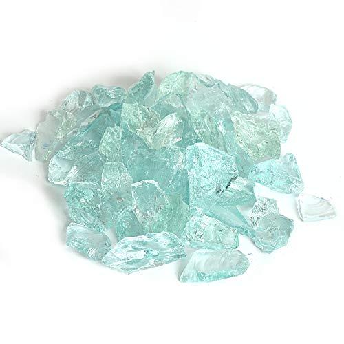 Reflektierendes Feuerglas-Kies, Feuersteine, Feuersteine, Steine, Steine, Perlen, Chips für Feuerschale, Aquarium, Garten, 1–2 cm, 540 g Wassergrün