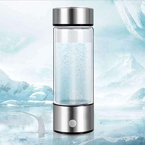 AUNLPB Wasserstoff-Generator-Wasserflasche, Wasserstoff-Wasser-Ionisator-Flaschenhersteller-Generator-Glaswasserkrug, Energetisch, BPA-frei, 400 ml