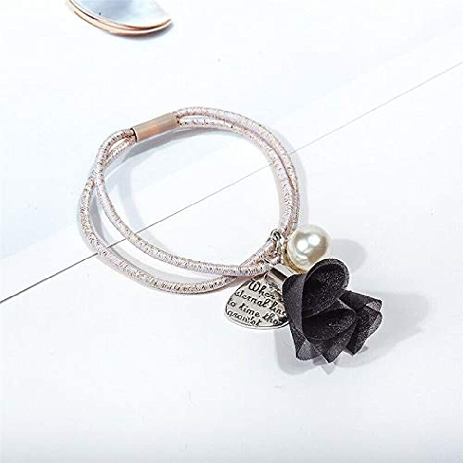Fashion Flower Pearl Hair Band Tie Elastic Double Rope Ring Ponytail Holder New (Colors - Black)