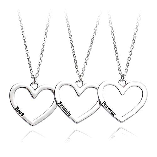 SIVITE Best Friends Forever Necklace Hollow Heart Pendant Necklace for 3...