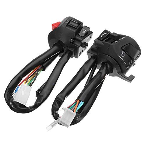 WANGXINQUAN 1 par 12V de la Motocicleta 7/8' Conmutador de Control del Manillar Cuerno Interruptor de los Intermitentes Faro Arranque eléctrico